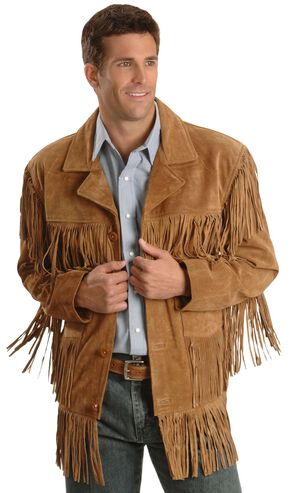 Liberty Wear Men's Suede Fringe Western Jacket - Big & Tall, Tobacco, hi-res