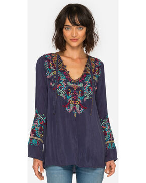 Johnny Was Women's Blue Gravel Sheesoh Embroidered Blouse, Blue, hi-res