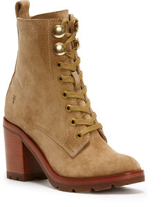 Frye Women's Sand Myra Lug Combat Boots - Round Toe , Sand, hi-res