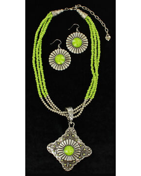 Blazin Roxx Women's Multi-Strand Triangle Pendant Necklace & Earrings Set, Lime, hi-res