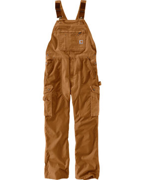 Carhartt Men's Double Barrel Bib Overalls, Pecan, hi-res