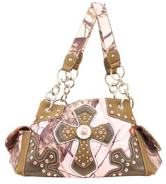 Blazin Roxx Pink Mossy Oak with Cross Applique Satchel Bag, , hi-res
