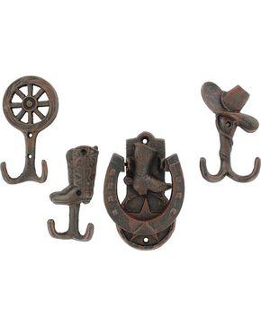 Western Moments Door Knocker & 3 Coat Hooks, Brown, hi-res