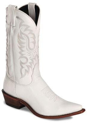 Nocona White Calfskin Cowgirl Boots - Snip Toe, White, hi-res