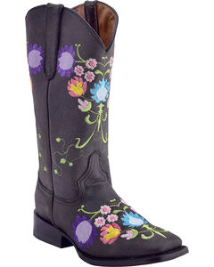 Ferrini Women's Flores Embroidered Western Boots - Square Toe, Charcoal, hi-res