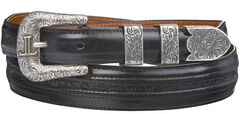 Lucchese Men's Black Goat with Hobby Stitch Leather Belt, , hi-res