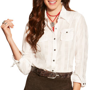 Ariat Women's White Lurex Buffalo Snap Shirt , White, hi-res