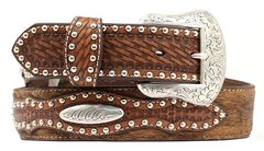 Nocona Basketweave & Studded Billets Hair-on-Hide Belt, , hi-res