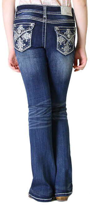 Grace in LA Girls' Dark Wash Fancy Flap Pocket Bootcut Jeans , Indigo, hi-res