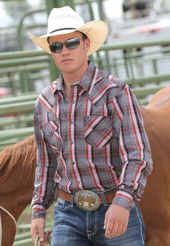 Cinch Men's Modern Fit Grey Plaid Long Sleeve Western Shirt, , hi-res