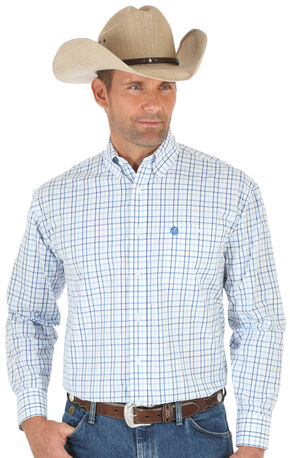 Wrangler George Strait White & Blue Poplin Plaid Western Shirt - Big & Tall , White, hi-res