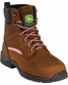 John Deere Women's Lace-Up Work Boots - Steel Toe, , hi-res