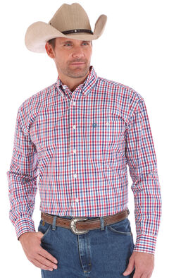Wrangler Men's American Spirit George Strait Long Sleeve Plaid Shirt - Big & Tall, Red, hi-res