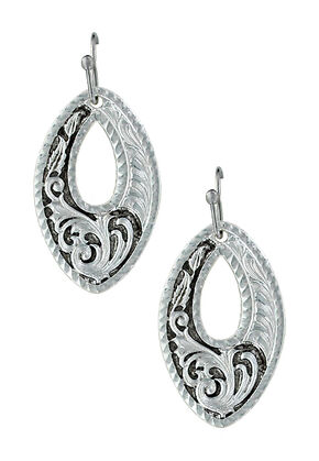 Montana Silversmiths LeatherCut Trailing Night Vines Earrings , Silver, hi-res