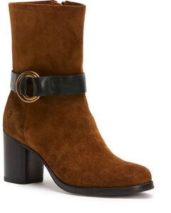 Frye Women's Chocolate Addie Harness Mid-Boots - Round Toe , Medium Brown, hi-res