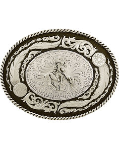 Montana Silversmiths Men's Wind Dancer Buckle with End of the Trail Figure, , hi-res