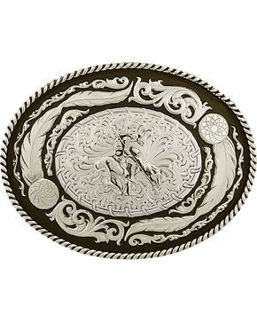 Montana Silversmiths Men's Wind Dancer Buckle with End of the Trail Figure, Silver, hi-res
