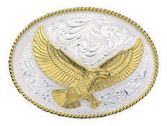 Montana Silversmiths Silver Engraved Large Eagle Western Attitude Belt Buckle, , hi-res