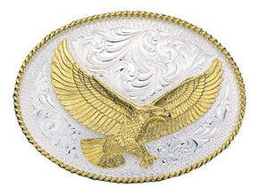 Montana Silversmiths Silver Engraved Large Eagle Western Attitude Belt Buckle, Multi, hi-res