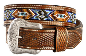 Nocona Basketweave Leather Billets Western Belt, Tan, hi-res