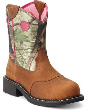 Ariat Fatbaby Camo Cowgirl Boots - Steel Toe, Brown, hi-res