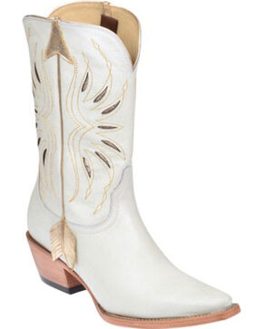 Lucchese Kacey Musgraves Golden Arrow Cowgirl Boots - Pointed Toe, White, hi-res