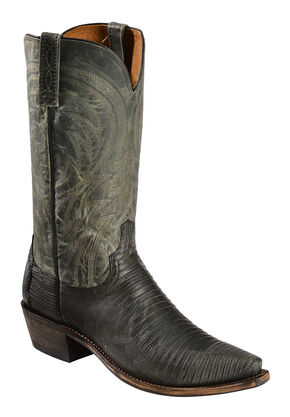 Lucchese Handmade 1883 Men's Percy Lizard Cowboy Boots - Snip Toe, Dark Grey, hi-res