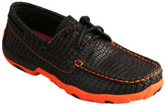 Twisted X Women's Black Print & Neon Orange Driving Mocs , , hi-res