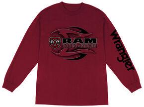 Wrangler Men's RAM Long Sleeve T-Shirt , Wine, hi-res