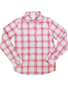 Shyanne Girls' Plaid and Floral Long Sleeve Western Shirt, Coral, hi-res