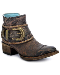 Corral Floral Embossed Short Boots - Round Toe, Brown, hi-res