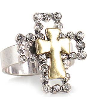 Shyanne Women's Rhinestone Cross Ring , Pink, hi-res