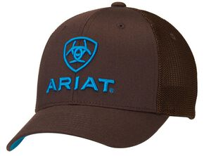 Ariat Flex Fit Mesh Back Logo Cap, Brown, hi-res