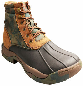 """Twisted X Women's Camo 6"""" Rubber Boots - Round Toe, Brown, hi-res"""