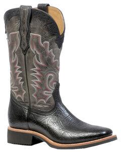 Boulet Shoulder Black Organza Grey Boots - Square Toe, Black, hi-res