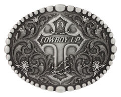 Montana Silversmiths Classic Oval Beaded Trim Cowboy Up Attitude Belt Buckle, , hi-res