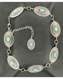 Ariat Oval Turquoise Concho Chain Belt, , hi-res