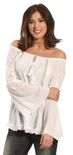 Bila Women's Embroidered Bell Sleeve Peasant Blouse , , hi-res