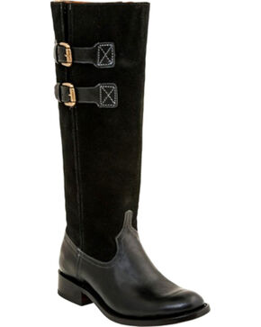 Lucchese Women's Paige Suede Riding Boots - Round Toe , Black, hi-res