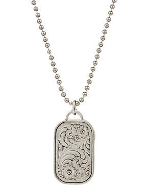 Montana Silversmiths Men's Stainless Steel Filigree Dog Tag Necklace, Silver, hi-res