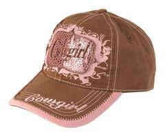 Blazin Roxx Brown & Pink Metallic Cowgirl Cap, , hi-res