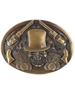 Cody James Men's Skull and Pistols Buckle, Gold, hi-res