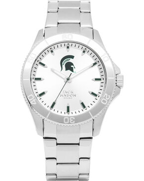 Jack Mason Men's Silver Michigan State Sport Bracelet Watch , Silver, hi-res