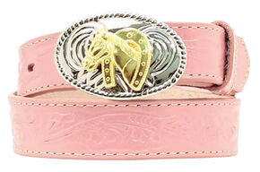 Girls' Pink Horse Buckle Belt, Assorted, hi-res