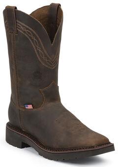 Justin Original Workboots Men's Crazyhorse J-Max Caliber Work Boots - Steel Toe, , hi-res