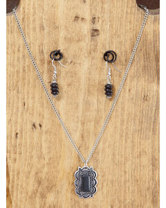 West & Co. Burnished Silver & Black Pendant Necklace & Earrings Set, , hi-res