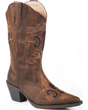 Roper Glitter Inlay Cowgirl Boots - Pointed Toe, Brown, hi-res
