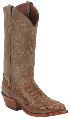 Tony Lama Gold and Tan Vintage Exotics Hornback Caiman Cowboy Boots - Round Toe , , hi-res