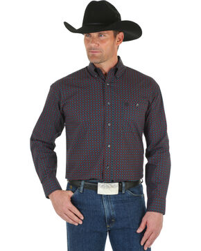 Wrangler George Strait Men's Black & Red Dot Shirt , Black, hi-res