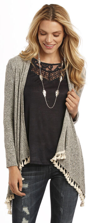 Rock and Roll Cowgirl Open Front Tassel Cardigan, Multi, hi-res